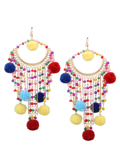 Fuzzy Ball Beaded Finged Tassel Earrings - Multicolor