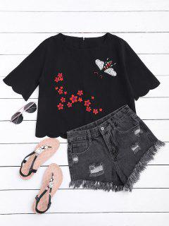 Floral Embroidered Scalloped Hem Tee - Black S