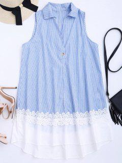 Sleeveless Striped Lace Panel Dress - Stripe M