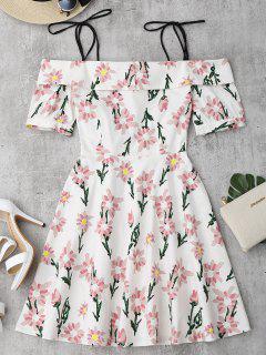 Vestido Con Estampado De Flores Con Tirantes Finos Con Faldas De Volantes - Floral Xl