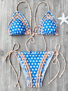 Ensemble De Bikini à Cordes Autocollantes Imprimé Pois - Bleu S