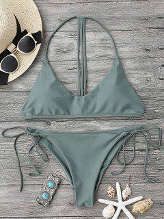 T Back Soft Pad String Bikini Set - Army Green L