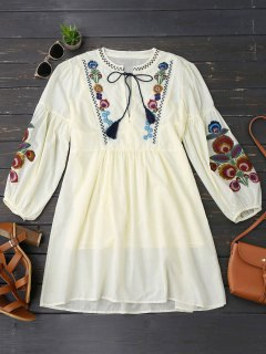 Long Sleeve Floral Embroidered Tunic Dress With Cami Tank Top - Light Yellow M