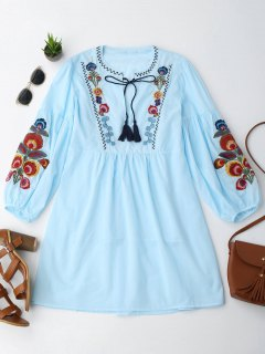 Long Sleeve Floral Embroidered Tunic Dress With Cami Tank Top - Light Blue M