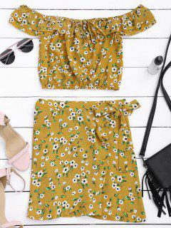 Floral Print Ruffle Top And Wrap Skirt - Floral S