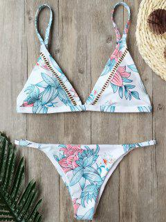 Padded Cami Floral Thong Bathing Suit - White S