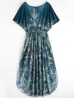 Batwing Graphic Slit Chiffon Maxi Dress - Multi M