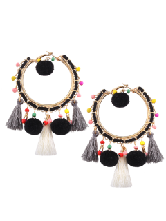 Fuzzy Ball Beaded Tassel Hoop Earrings - Black