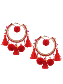 Fuzzy Ball Beaded Tassel Hoop Earrings - Red