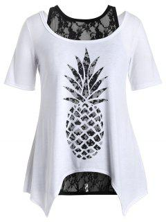 Plus Size Pineapple T-Shirt With Lace Tank Top - White 4xl