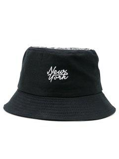 Letters Printed Icon Embellished Top Bucket Hat - Black
