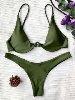 Push Up Plunge Bathing Suit - Green L