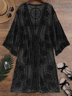 Sheer Lace Tie Front Kimono Cover Up - Black