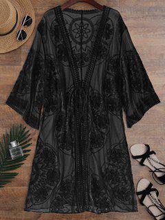 Kimono Envuelto Trasparente De Encaje Con Nudo Frontal - Negro