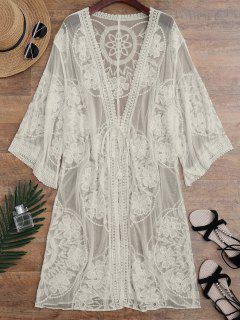 Sheer Lace Tie Front Kimono Cover Up - Apricot
