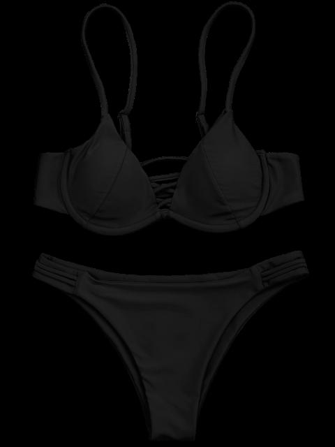 women's Lattice Padded Underwire Bikini Set - BLACK L Mobile