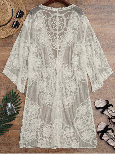 Couverture Kimono Tranparent à Lacet avec Noeud Devant - Abricot TAILLE MOYENNE Mobile