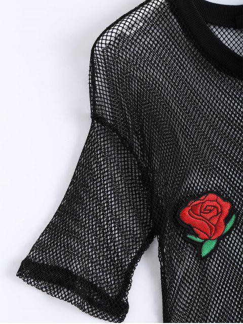 shops Floral Patched Fishnet Cut Out Top - BLACK 2XL Mobile