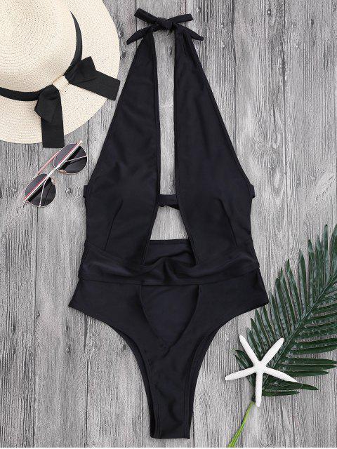 Monokini col plongeant bas levé avec découpes - Noir L Mobile
