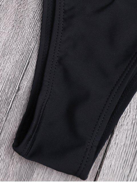shops Cut Out High Leg Plunging Neck Monokini - BLACK L Mobile