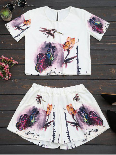 Schmetterlings-Druck-hohe Taille zwei Stück-Satz - Weiß L Mobile