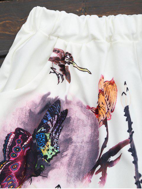 Ensemble de deux pièces imprimés papillon à taille haute - Blanc XL Mobile