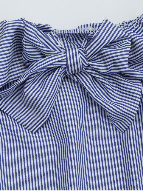 affordable Bowknot Off The Shoulder Striped Blouse - STRIPE ONE SIZE Mobile