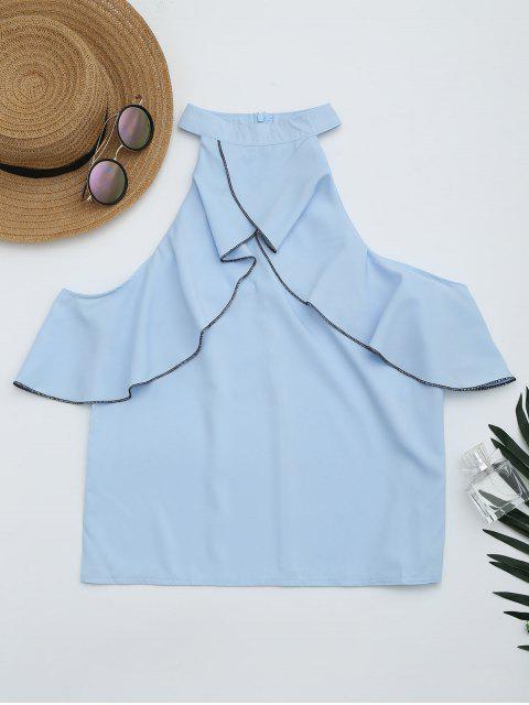 womens Cold Shoulder Ruffle Hem Blouse - SKY BLUE M Mobile