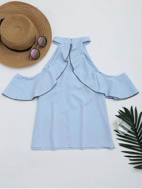women Cold Shoulder Ruffle Hem Blouse - SKY BLUE L Mobile