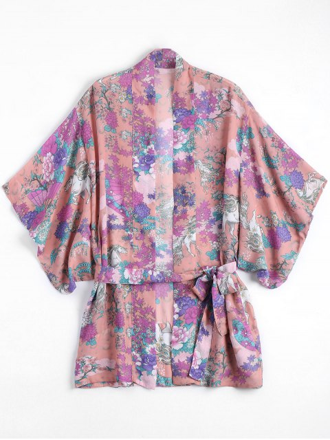 women's Belted Chiffon Floral Kimono Blouse - FLORAL ONE SIZE Mobile