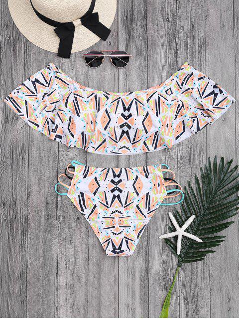 unique Off Shoulder Geometric Pattern Banded Bikini - COLORMIX S Mobile