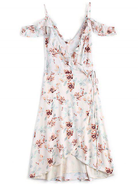 women Floral Cold Shoulder Asymmetrical Wrap Dress - FLORAL XS Mobile