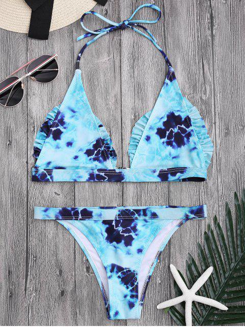 ladies Bralette Tie-Dyed Ruffles Bathing Suit - LAKE BLUE S Mobile