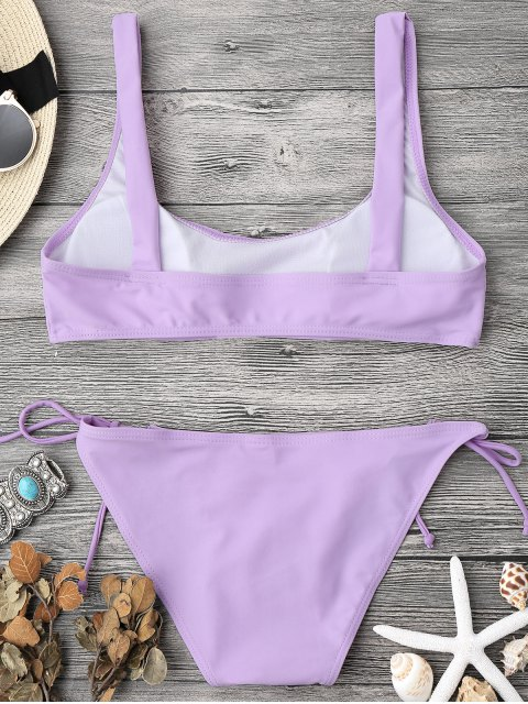 new Padded Bralette String Bikini Top and Bottoms - PURPLE L Mobile