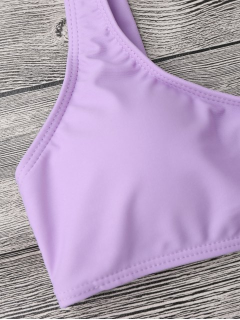 outfit Padded Bralette String Bikini Top and Bottoms - PURPLE S Mobile