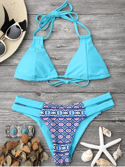 shops Printed Halter Padded Bikini Top and Bottoms - TURQUOISE S Mobile
