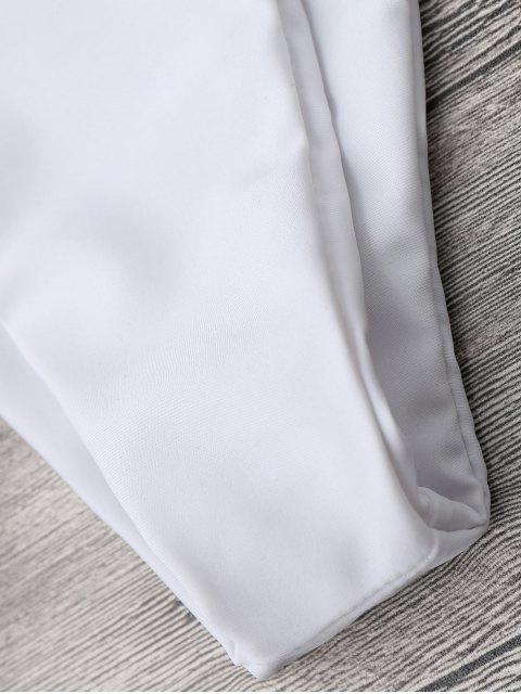 affordable Color Block V String Underwire Bikini Set - WHITE AND COFFEE M Mobile