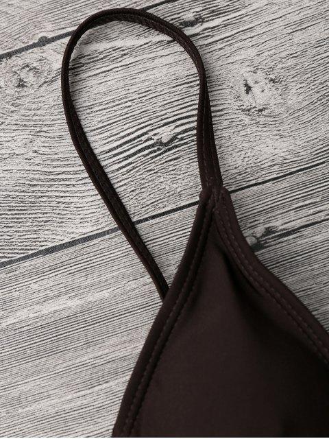 buy Color Block V String Underwire Bikini Set - WHITE AND COFFEE S Mobile