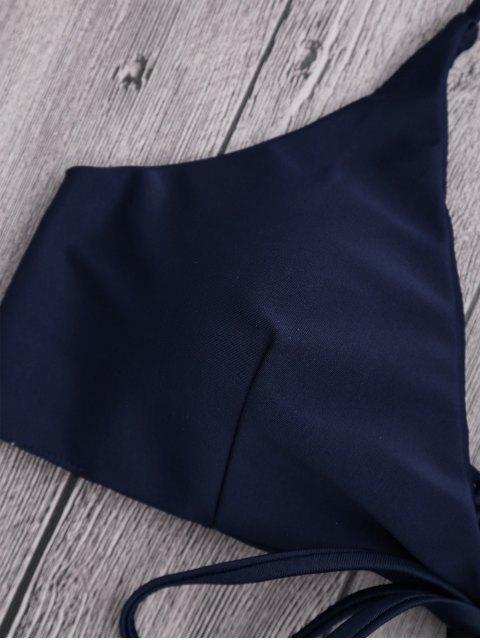 best Fringes Halter Braided Front Tied Bikini Top - PURPLISH BLUE S Mobile