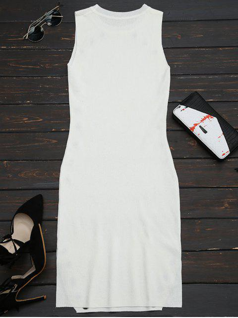 outfit Ring Embellished Slit Bodycon Knit Dress - WHITE ONE SIZE Mobile