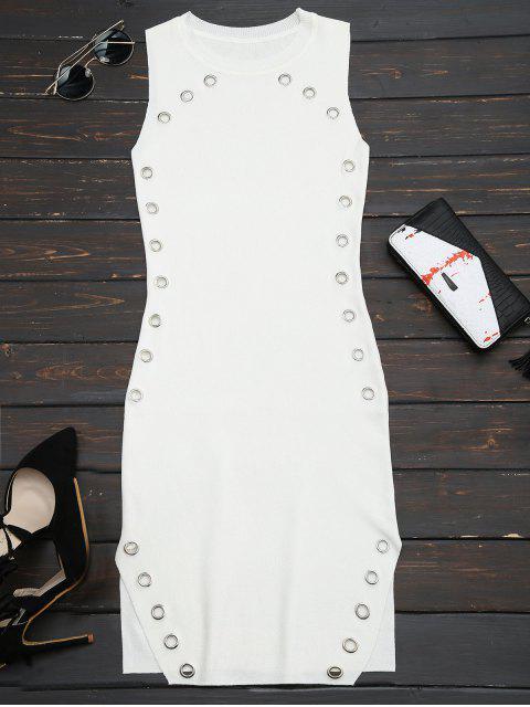 Robe collante en tricot avec embellissement de bagues et fentes - Blanc TAILLE MOYENNE Mobile