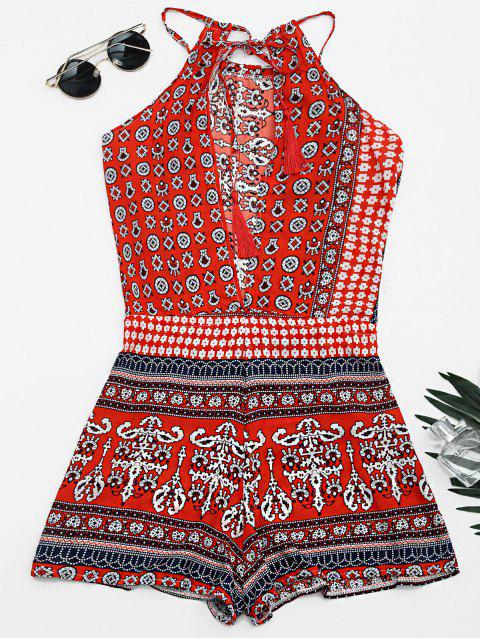 fashion Tribal Print Cut Out Cami Romper - RED M Mobile