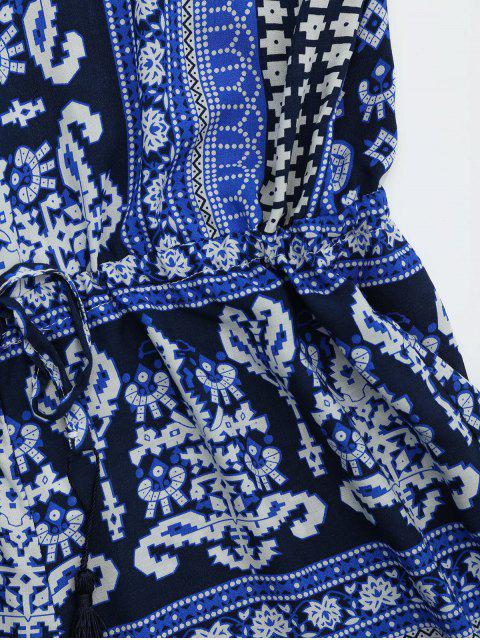 sale Tribal Print Cut Out Cami Romper - BLUE L Mobile