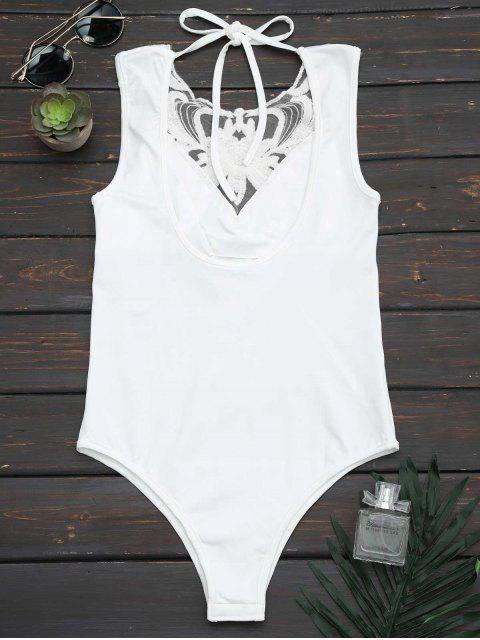 womens Halter Lace Panel Bodysuit - WHITE S Mobile