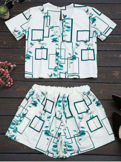hot Leaves Print Top and Pocket Shorts Set - WHITE 2XL Mobile