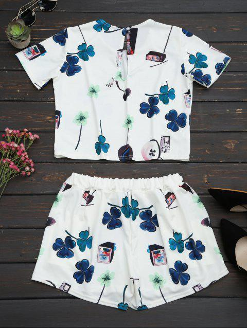 outfits Printed Top with High Waist Shorts Set - WHITE M Mobile