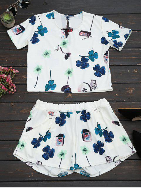 shop Printed Top with High Waist Shorts Set - WHITE L Mobile