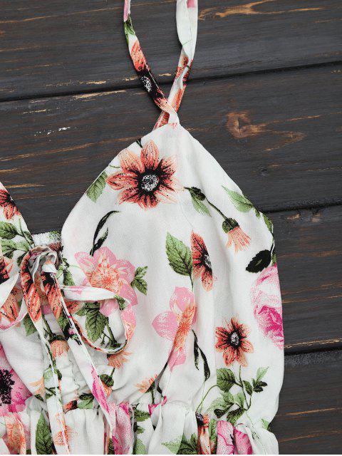 Haut à bretelle à volants et shorts imprimés fleur - Floral S Mobile