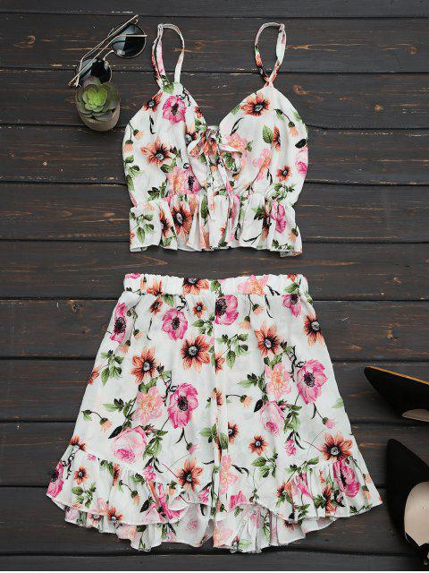 affordable Floral Print Ruffles Cami Top and Shorts - FLORAL M Mobile
