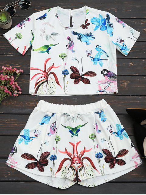 outfits Printed High Waist Two Piece Set - WHITE 2XL Mobile